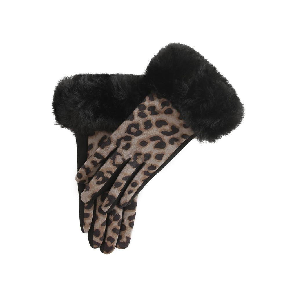 Gemini Label Accessories Nala Leopard Fur Trim Glove Grey / Tan / Black Leopard