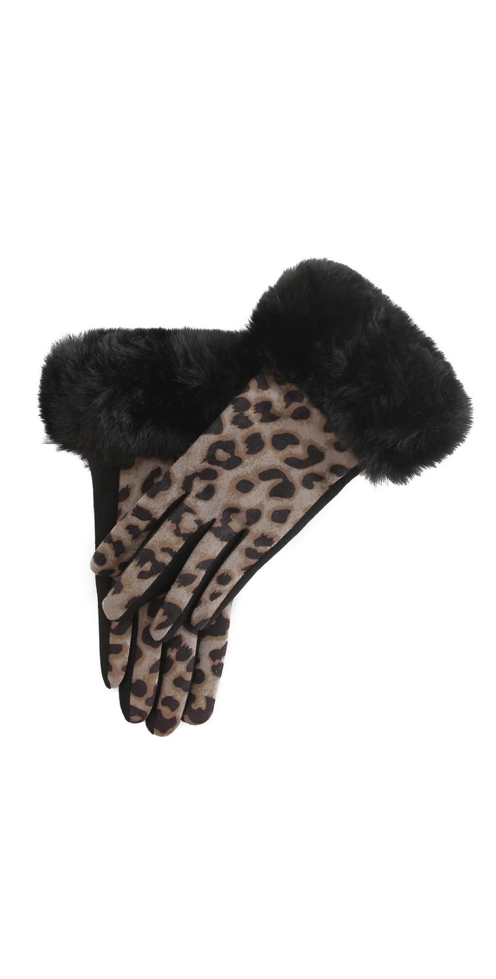 Nala Leopard Fur Trim Glove main image