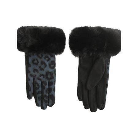 Gemini Label Accessories Nala Leopard Fur Trim Glove - Blue