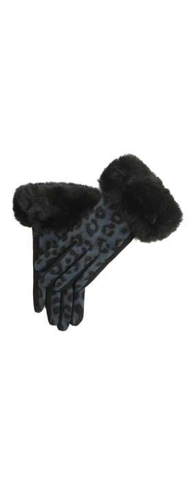 Gemini Label Accessories Nala Leopard Fur Trim Glove Blue / Black Leopard