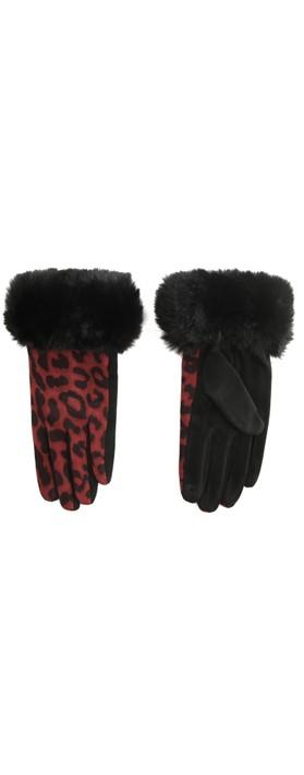 Gemini Label Accessories Nala Leopard Fur Trim Glove Red / Black Leopard
