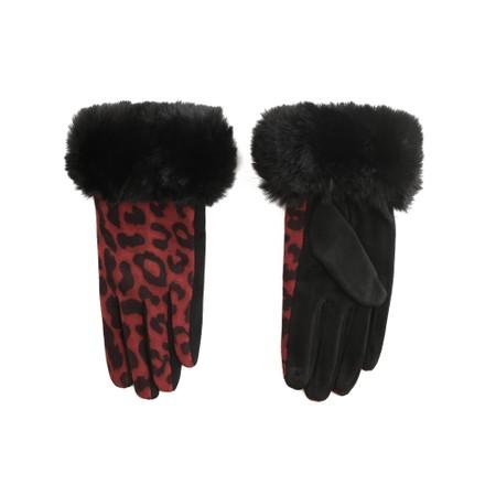 Gemini Label Accessories Nala Leopard Fur Trim Glove - Red