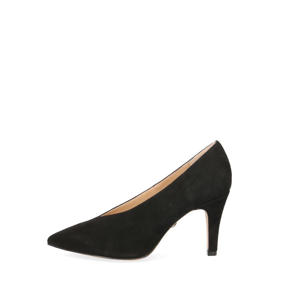 Caprice Footwear Effie Suede Court Shoe  Black