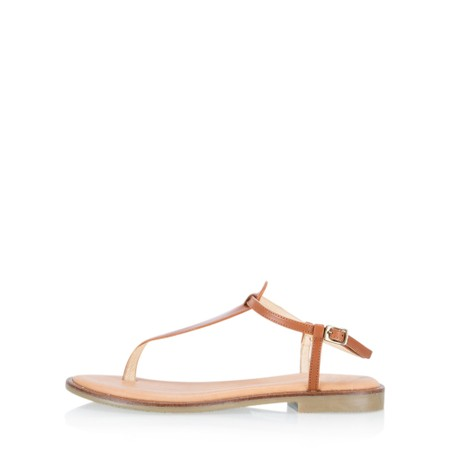 Gemini Label Shoes Sammie Icon Leather Flat Sandal - Brown