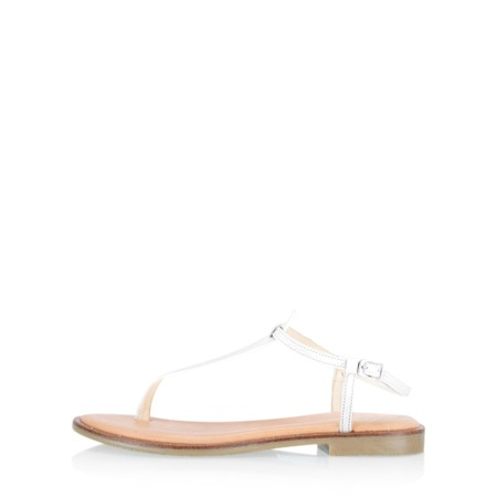 Gemini Label Shoes Sammie Icon Leather Flat Sandal - White