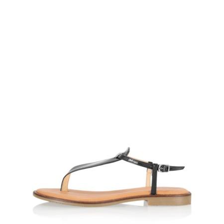 Gemini Label Shoes Sammie Icon Black Patent Flat Sandal - Black