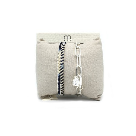 Boho Betty Phuket Two Layer Bracelet Stack  - Silver
