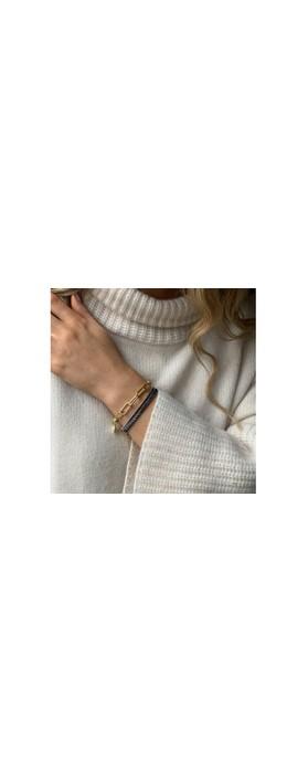Boho Betty Phuket Two Layer Bracelet Stack  Gold Navy