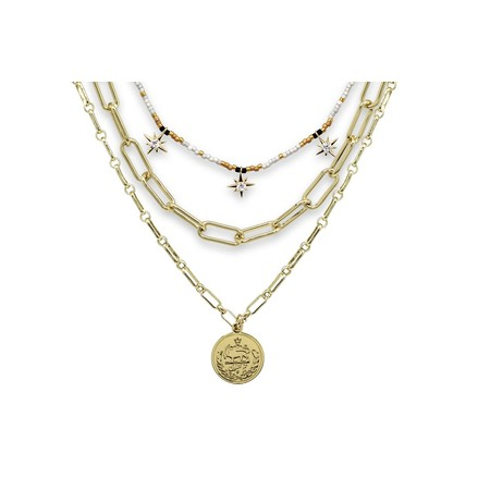 Boho Betty Hora Three Layer Necklace Set - Gold