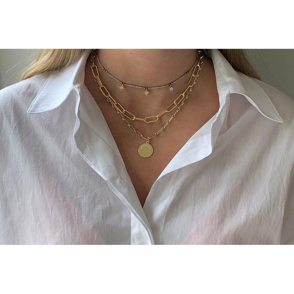 Boho Betty Hora Three Layer Necklace Set Gold