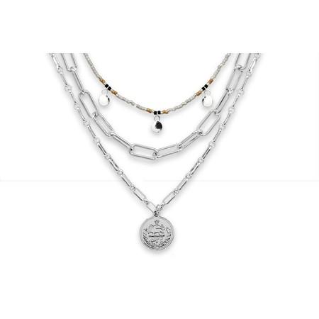 Boho Betty Hora Three Layer Necklace Set - Metallic