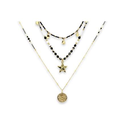 Boho Betty Boreas Three Layer Necklace Set  - Black