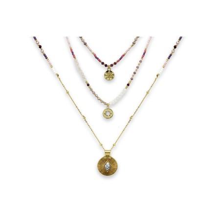 Boho Betty Boreas Three Layer Necklace Set  - Gold