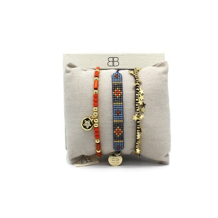 Boho Betty Heraklion Three Layer Bracelet Stack - Multicoloured