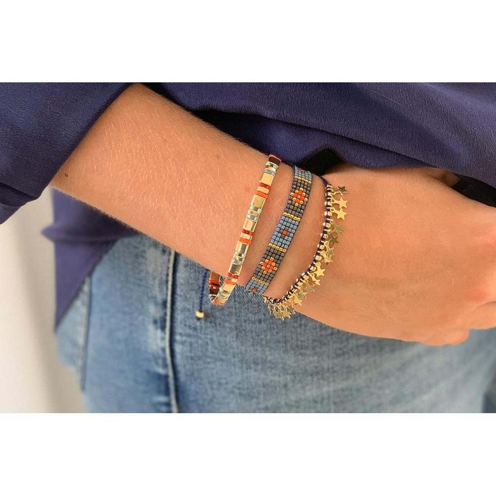 Boho Betty Heraklion Three Layer Bracelet Stack Gold Navy Orange