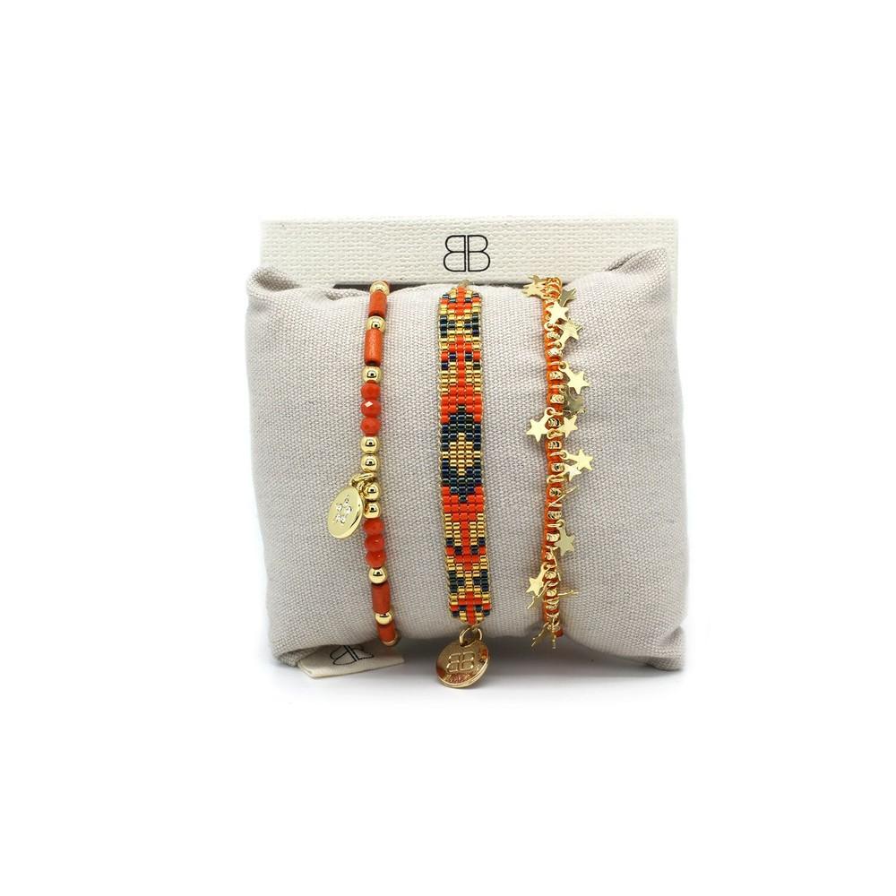 Boho Betty Chiba Three Layered Stack Bracelet Orange Grey Gold