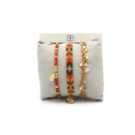 Boho Betty Chiba Three Layered Stack Bracelet - Orange