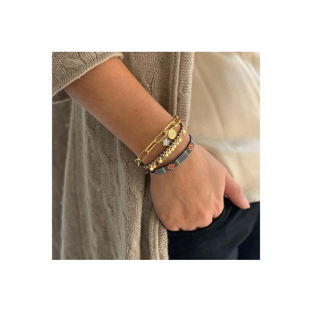 Boho Betty Nice Three Layer Bracelet Stack Gold Navy