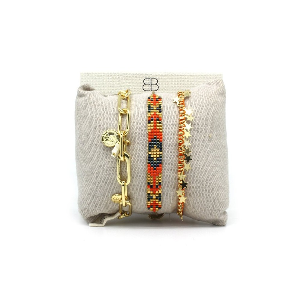 Boho Betty Valetta Three Layer Bracelet Stack Gold Navy Orange