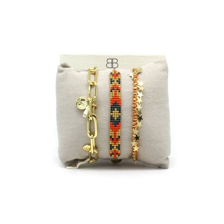Boho Betty Valetta Three Layer Bracelet Stack - Multicoloured