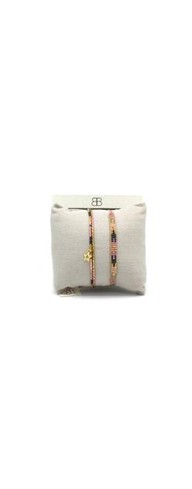 Boho Betty Verona Two Layer Bracelet Stack  Pink Grey Gold