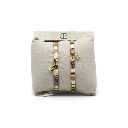Boho Betty Casablanca Two Layered Bracelet Stack  - Beige
