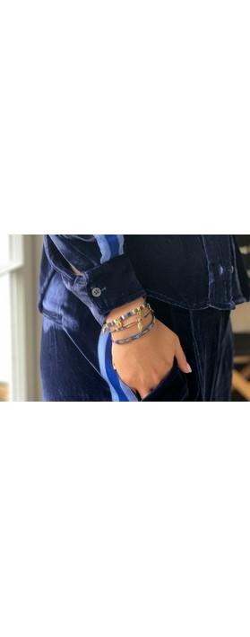 Boho Betty Hanoi Three Layer Bracelet Stack Navy Blue Gold