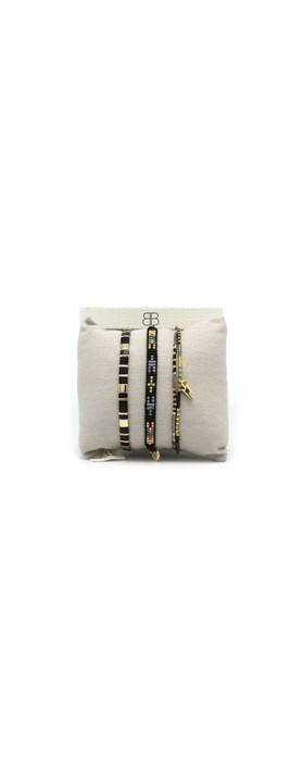 Boho Betty Rethymno Three Layer Bracelet Stack Black Grey Gold