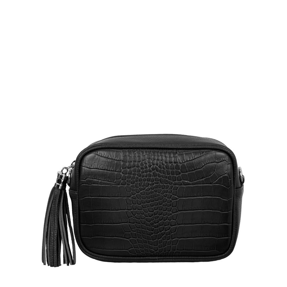 Gemini Label Bags Connie Croc Cross Body bag Black