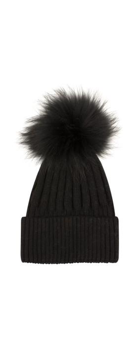 Bitz of Glitz Jessie Pom Pom Hat  Black / Black Pom