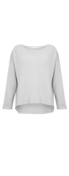Amazing Woman Freddie Round Neck Cashmere Mix Rib Knit Light Grey