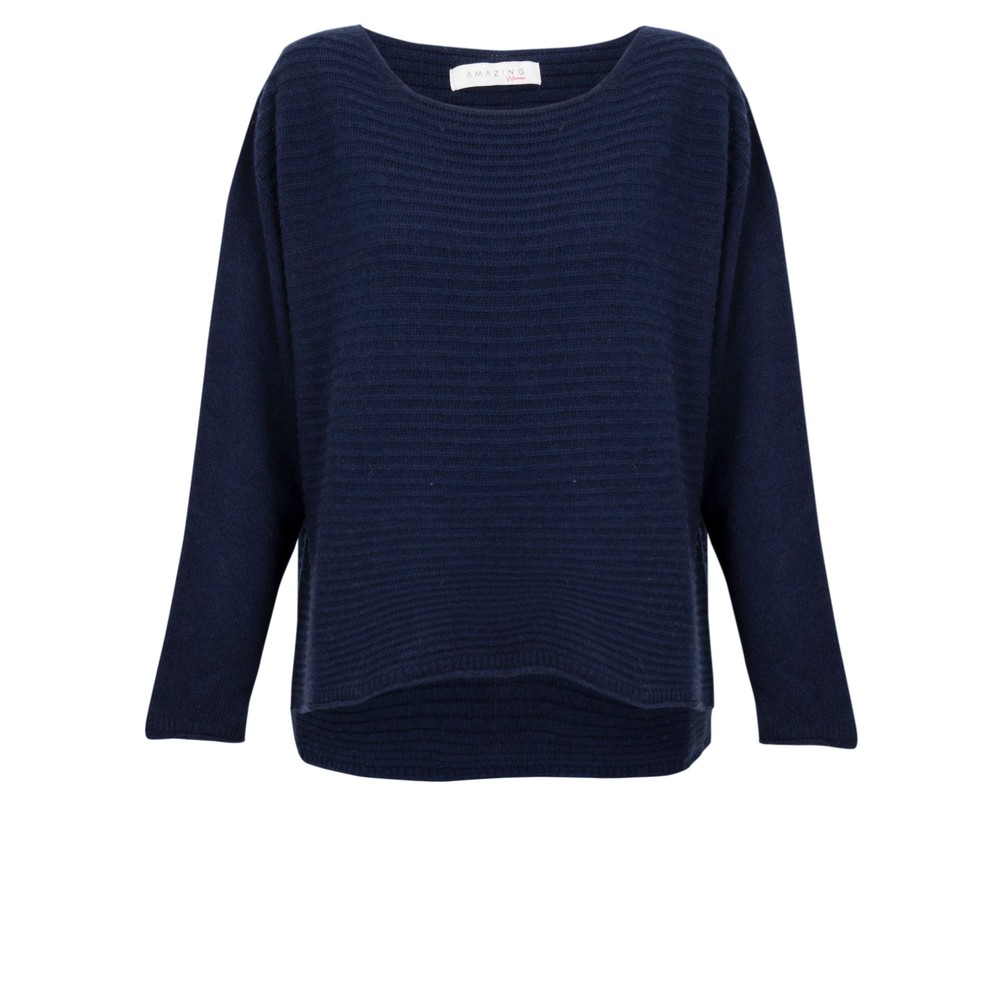 Amazing Woman Freddie Round Neck Cashmere Mix Rib Knit Bright Navy Blu