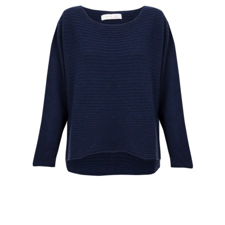 Amazing Woman Freddie Round Neck Cashmere Mix Rib Knit - Blue