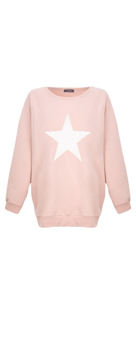 Chalk Nancy Star Oversized Comfy Sweatshirt Dusky Pink / White