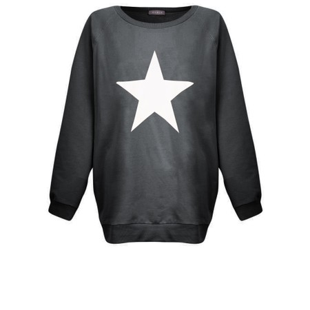 Chalk Nancy Star Oversized Comfy Sweatshirt - Grey