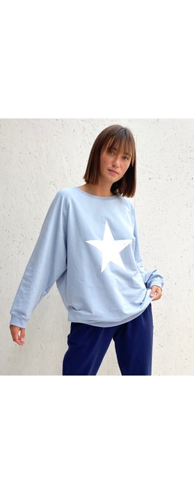 Chalk Nancy Star Oversized Comfy Sweatshirt Pale Blue / White