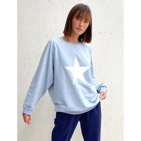 Chalk Nancy Star Oversized Comfy Sweatshirt - Blue