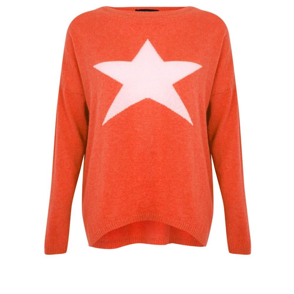 Luella Classic Star Cashmere Blend Jumper Orange / Sand