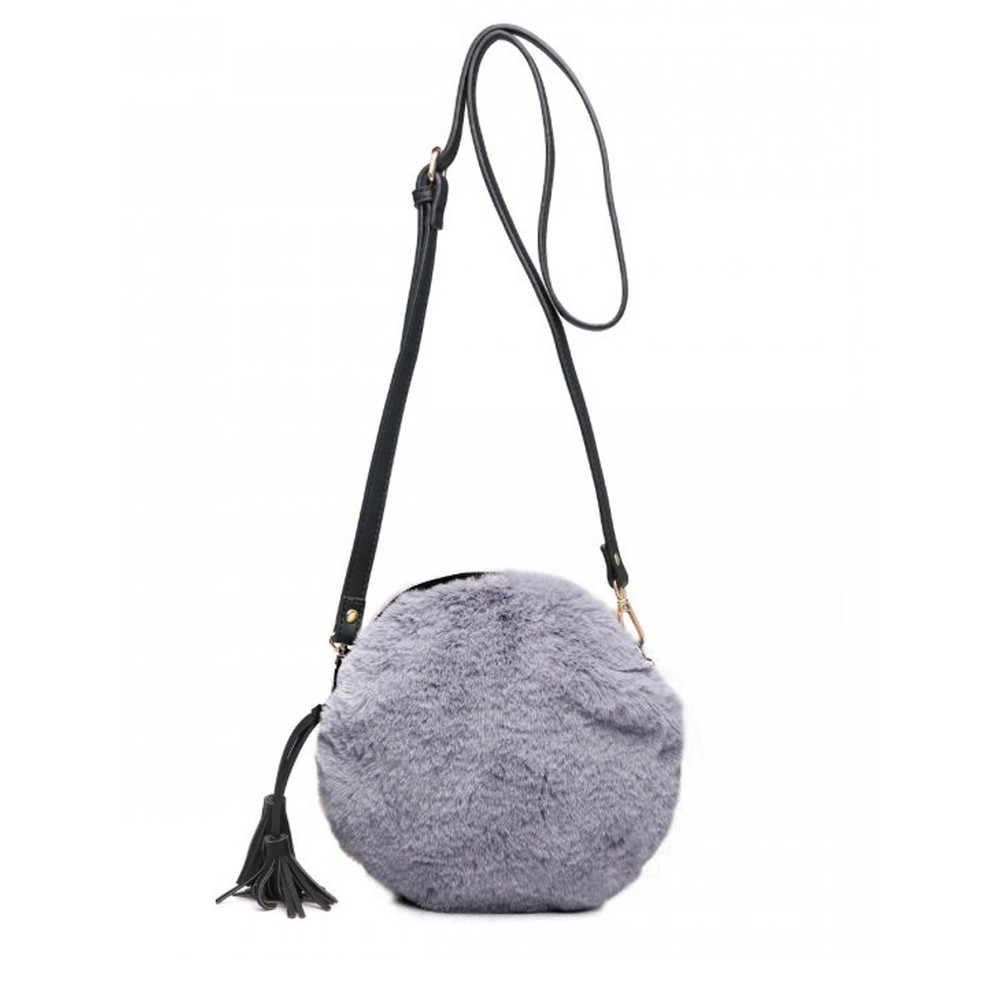 Gemini Label Bags Nala Faux Fur Round Bag Charcoal