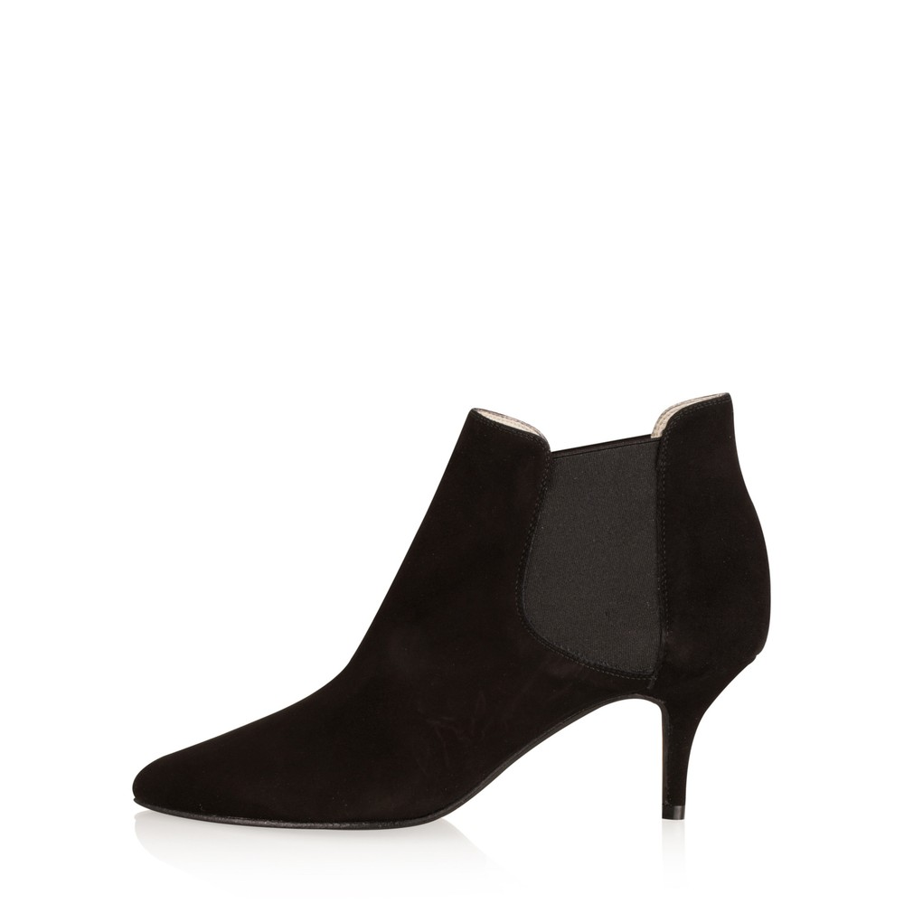 Gemini Label Shoes Ilirio Suede Kitten Heel Ankle Boot Black