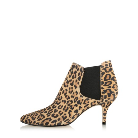 Gemini Label Shoes Ilirio Leopardo Kitten Heel Ankle Boot - Beige