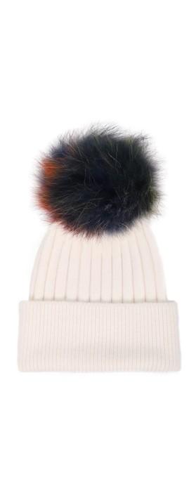 Bitz of Glitz Jessie Pom Pom Hat  Off White / Multi Pom