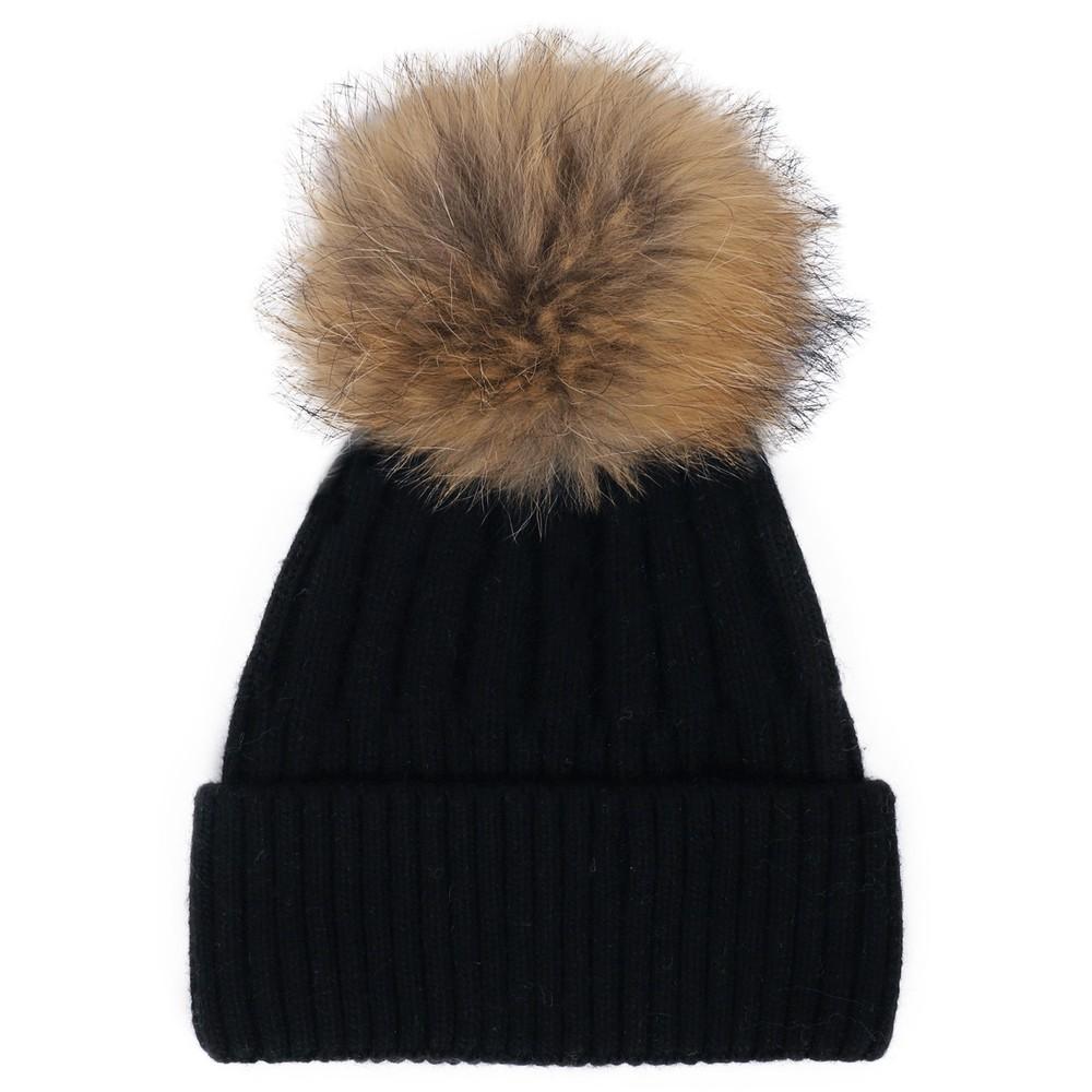 Bitz of Glitz Jessie Pom Pom Hat  Black / Natural Pom