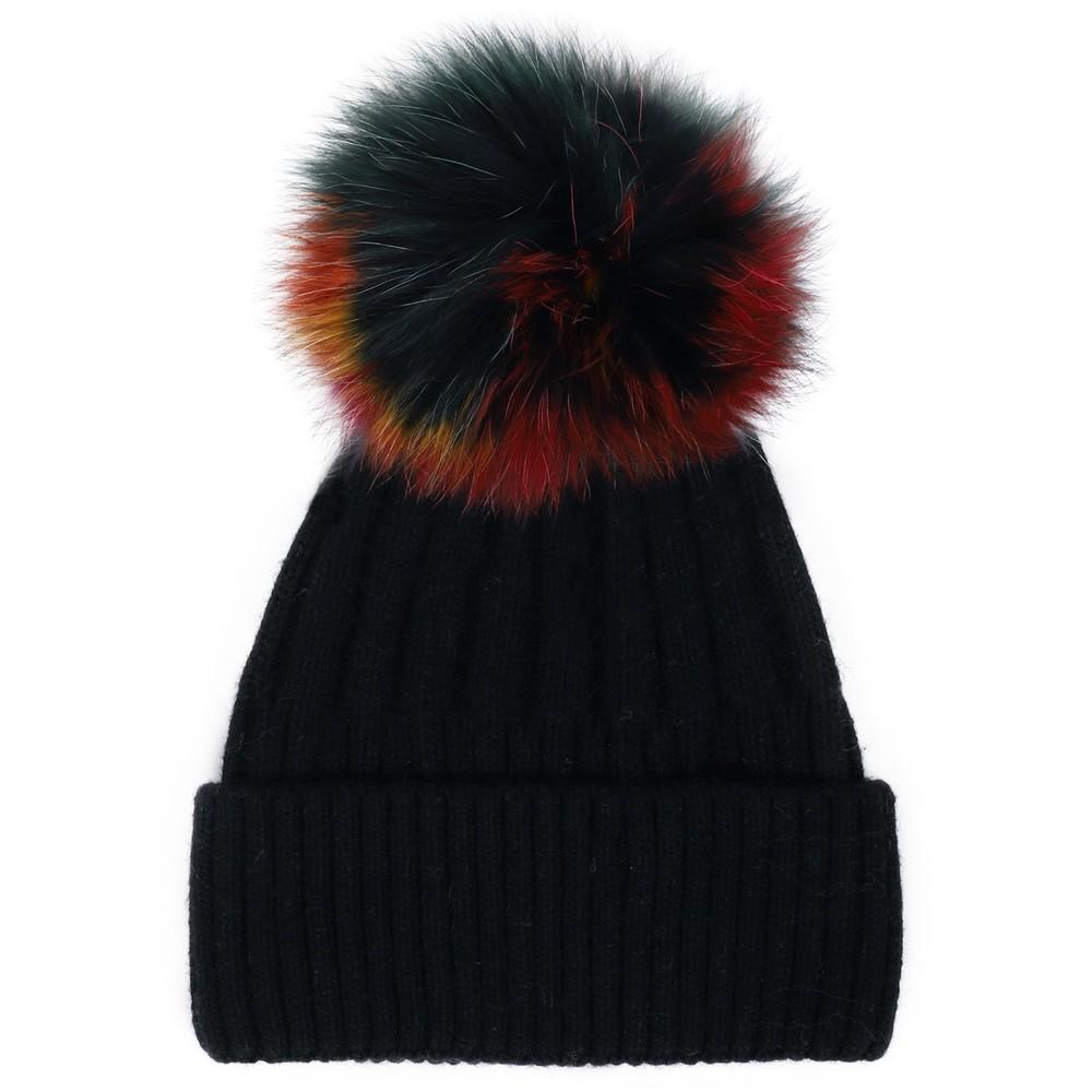 Bitz of Glitz Jessie Pom Pom Hat  Black / Multi Pom