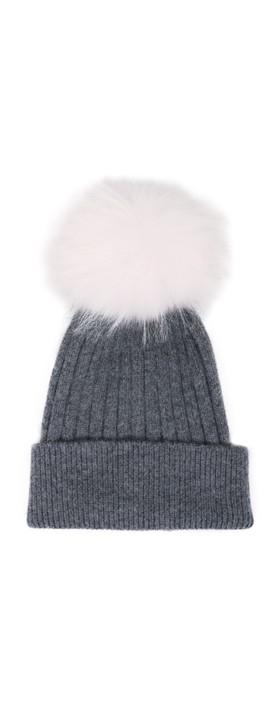 Bitz of Glitz Jessie Pom Pom Hat  DK Grey / White Pom