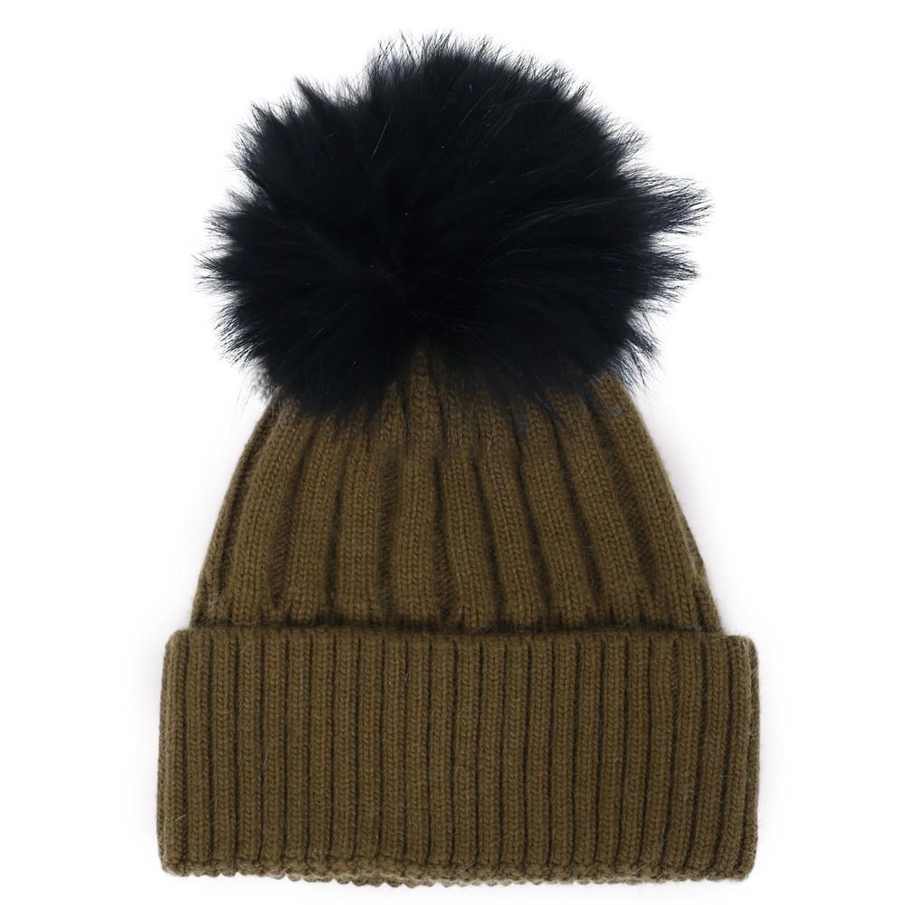 Bitz of Glitz Jessie Pom Pom Hat  Khaki / Black Pom