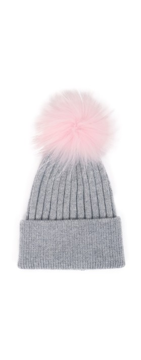 Bitz of Glitz Jessie Pom Pom Hat  Lt Grey PPink Pom