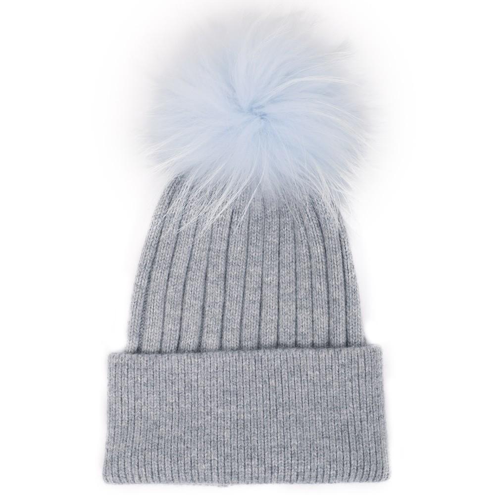 Bitz of Glitz Jessie Pom Pom Hat  Lt Grey P Blue Pom