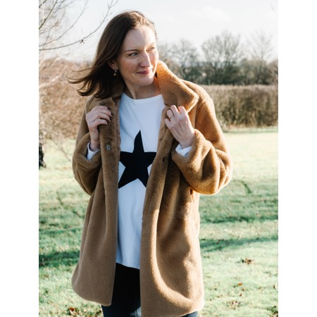 Amazing Woman  Cosy Faux Fur Jacket - Brown