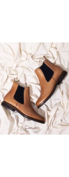 Tamaris Belin Leather Chelsea Boot Nut / Navy
